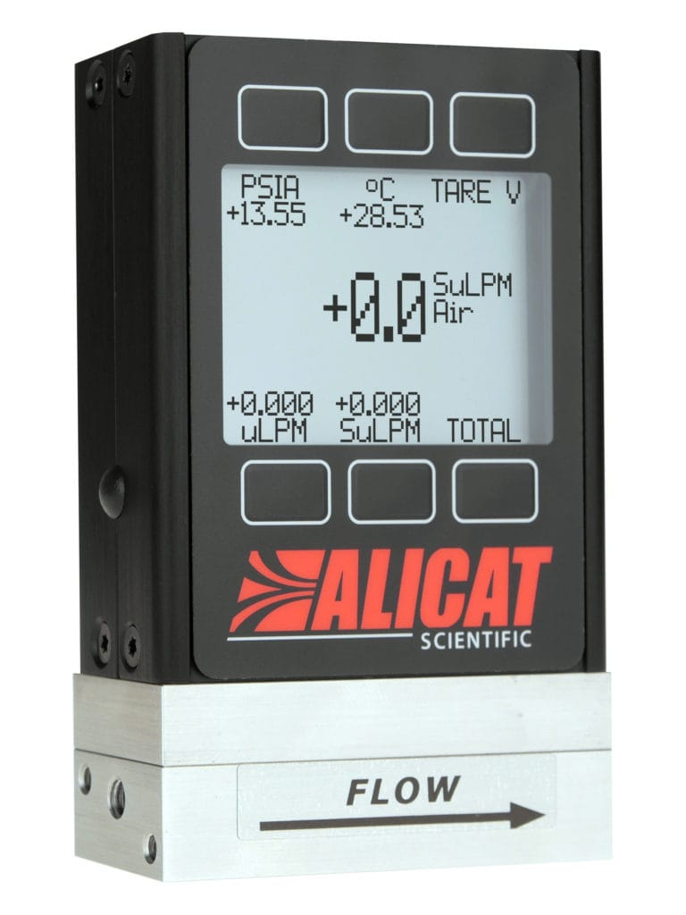 ALICAT mass flow meter, available with a standard monochrome display
