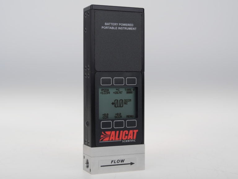 ALICAT portable mass flow meter, available with a standard monochrome display