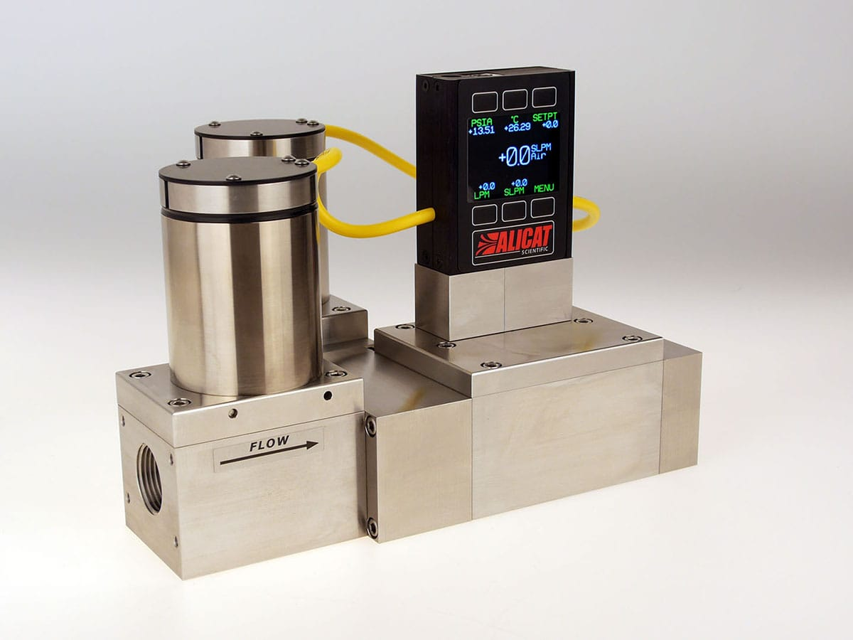 Alicat MCRDS high-flow bidirectional mass flow controller for corrosive gases, shown with optional color display